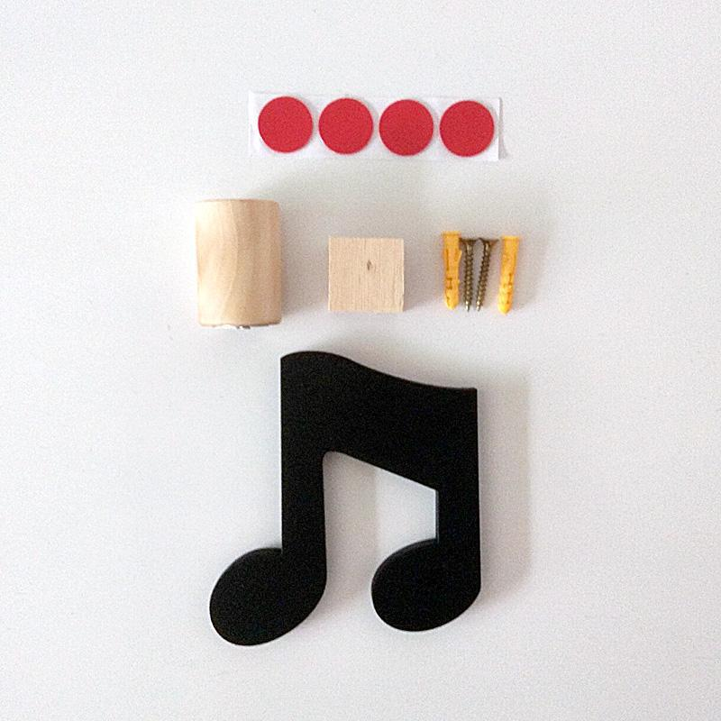 Black Music Note Wood Wall Hook