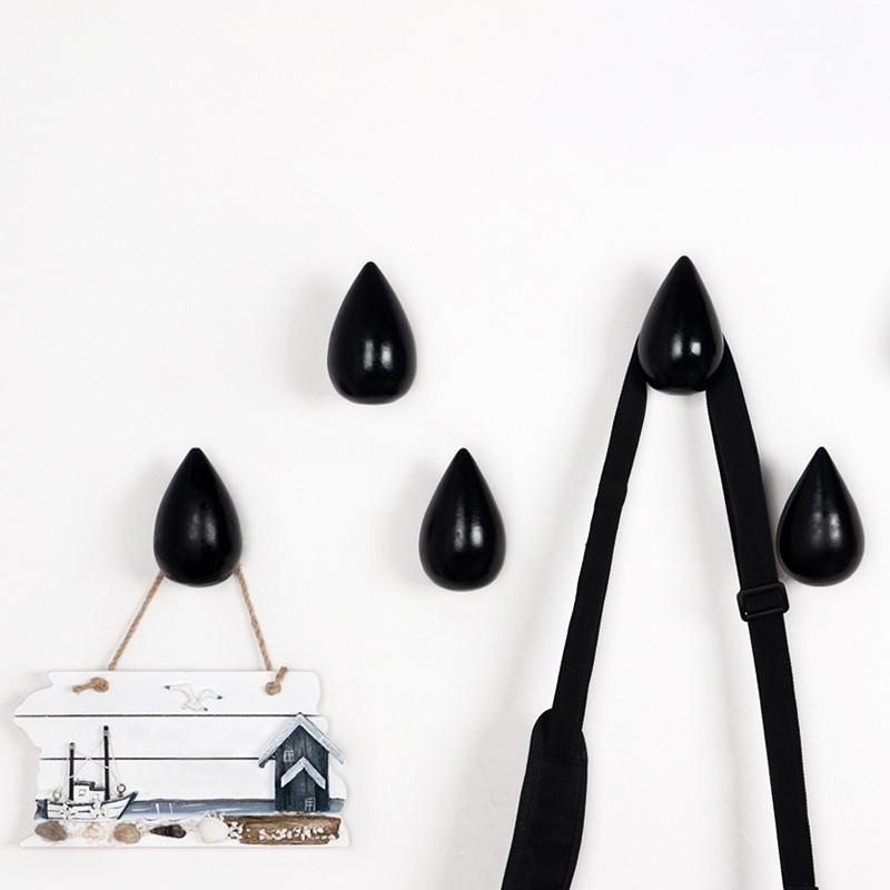 Wood Rain drop shaped wall hook mutli colors room decor accessory
