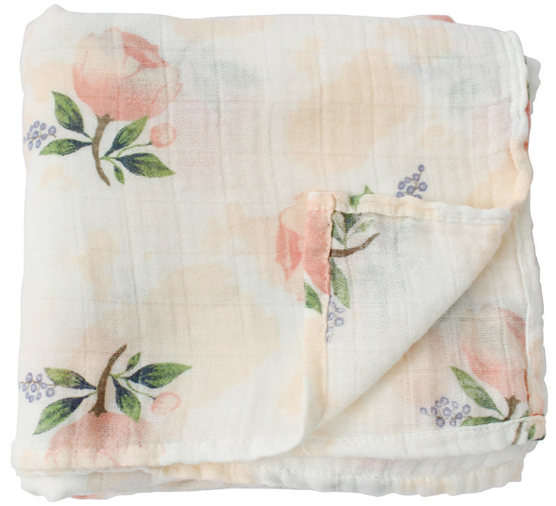 Garden rose printed bamboo swaddle blanket baby girl gift set