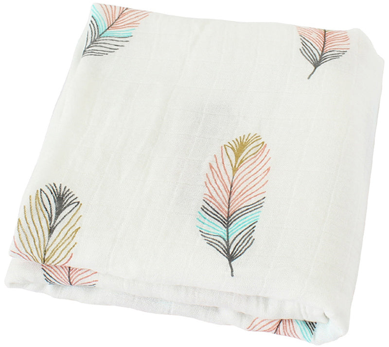 Flamingo & Feather Bamboo Swaddle Blankets - Set of 2