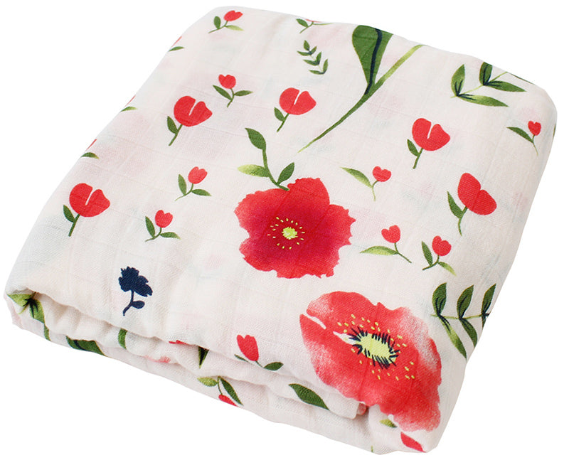 Poppy printed bamboo swaddle blanket baby girl gift set