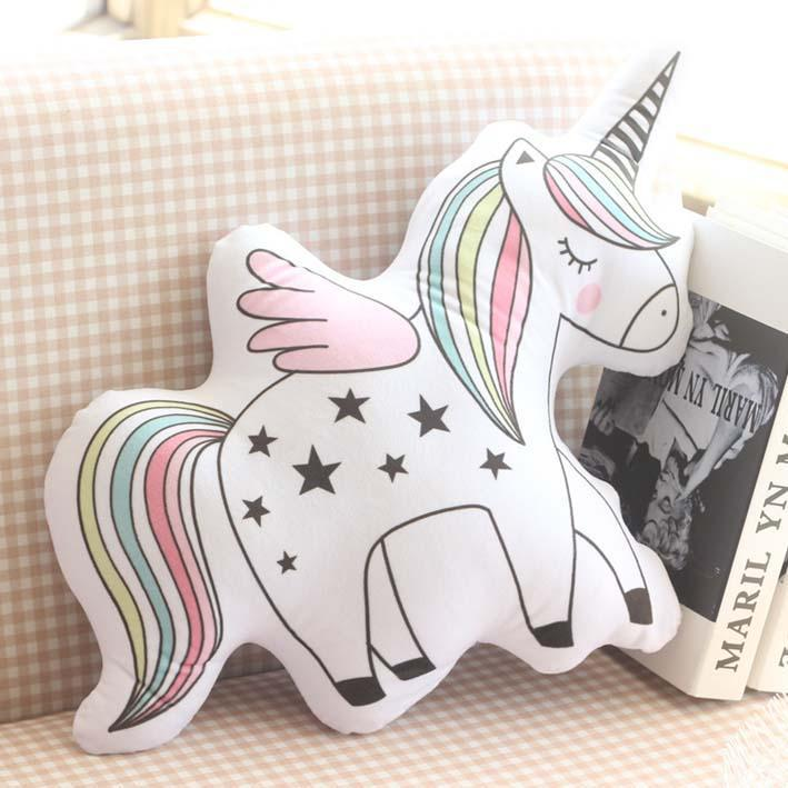 Rainbow Unicorn Shaped  Printed Cotton soft pillow cushion for baby nursery, playroom and children rooms