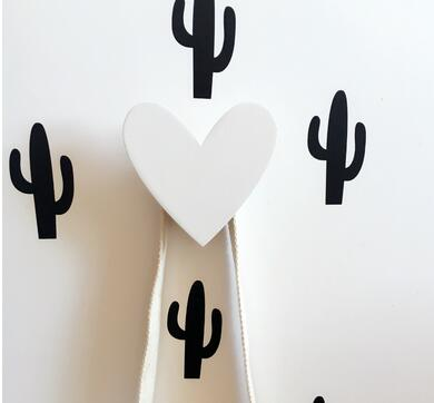 Wood heart wall hook clothing accessory room decor