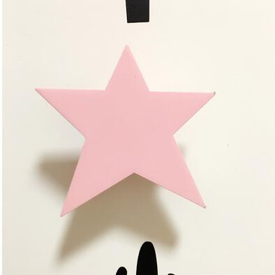 Pink Star wall hook wood room decor accessory
