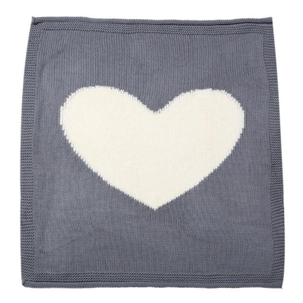 Baby knit blanket with oversized contrast heart for playroom baby nursery and children bedroom
