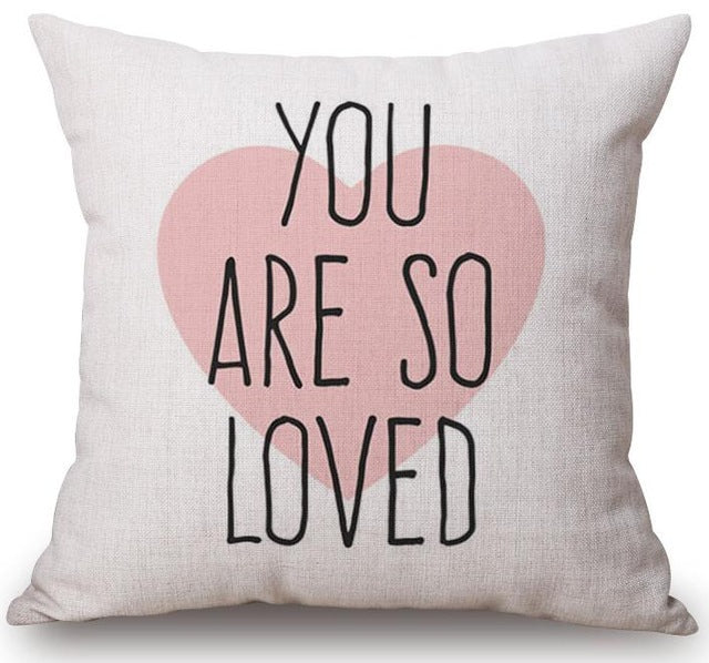 You are so loved printed canvas heart baby girl room bed pillow cushion cover