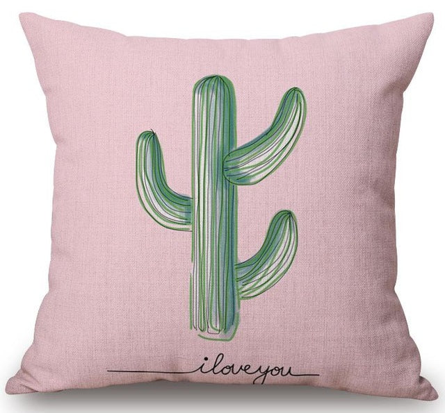 """I Love You"" Cactus Print Cushion Cover"