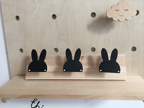 3 Little Bunnies Wall Hooks  (3 Colors)