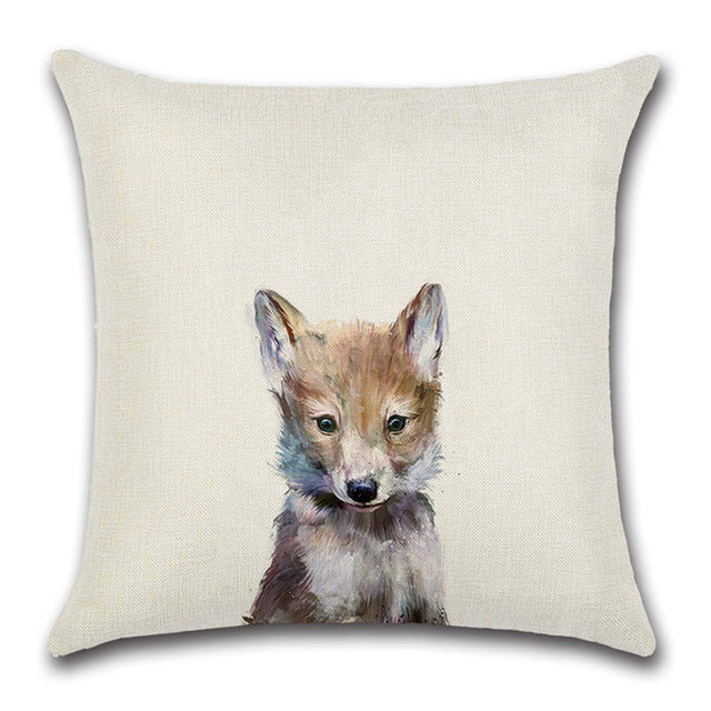 Fox Cub Drawing Pillow Cover