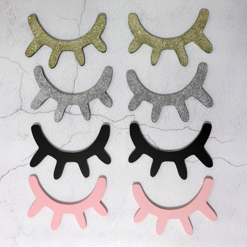 Eyelash wooden wall decor stickers -Set of 2 (6 colors)
