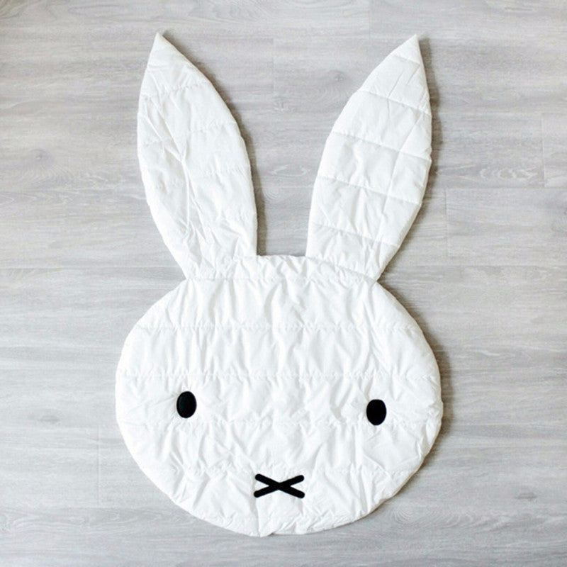 White bunny head shaped soft activity mat rug for baby play mat