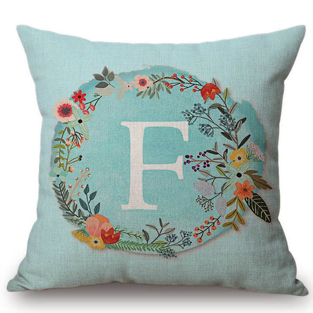 Aqua Floral Monogram Cushion Cover