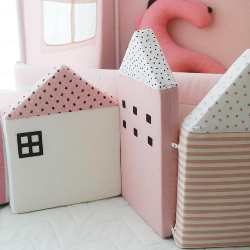 Pink Little Scandinavian Houses Bumper Cushions - 4 PCS set
