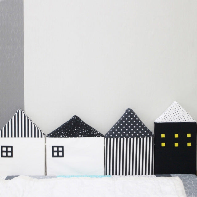 Black & White Scandinavian Houses Bumper Cushions - 4 PCS Set