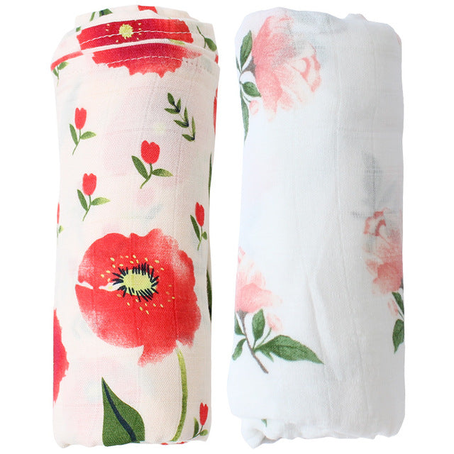 Floral Bamboo baby swaddle blankets gift set two blankets