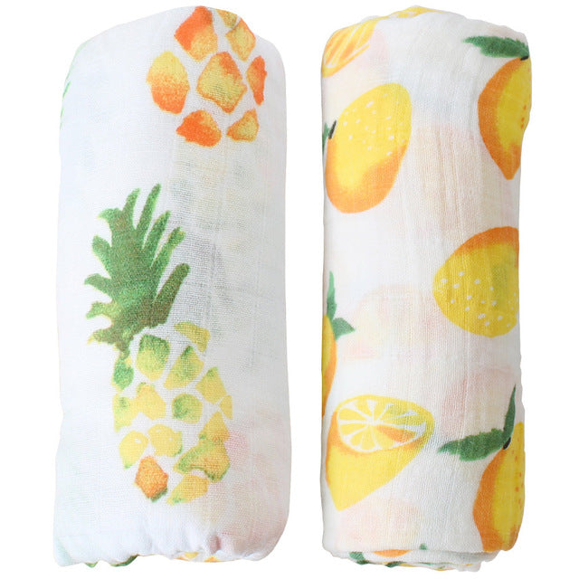 Pineapple and lemon printed bamboo baby swaddle receiving blankets set of two for gift and bed