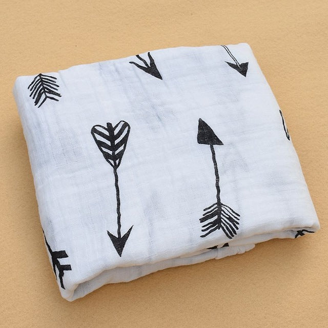 Boho arrows print cotton baby swaddle receiving blanket