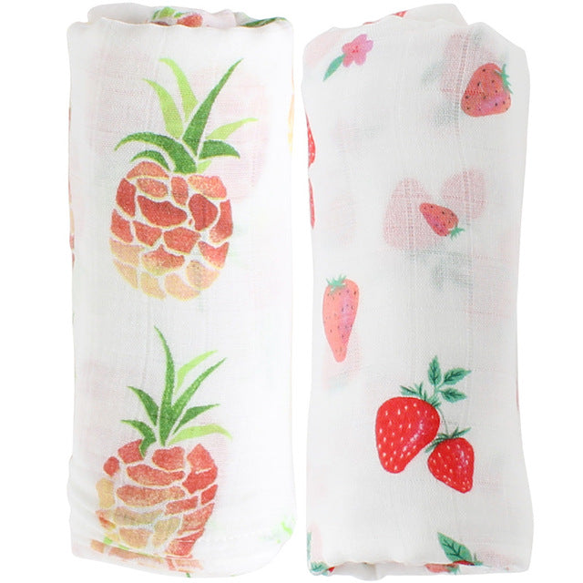 Pineapple and strawberry printed swaddle baby blanket set of two gift set