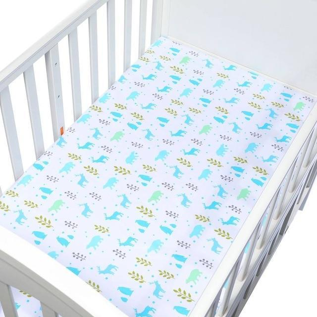 Aqua Scandi Forrest Fitted Crib & Toddler Bed Sheet