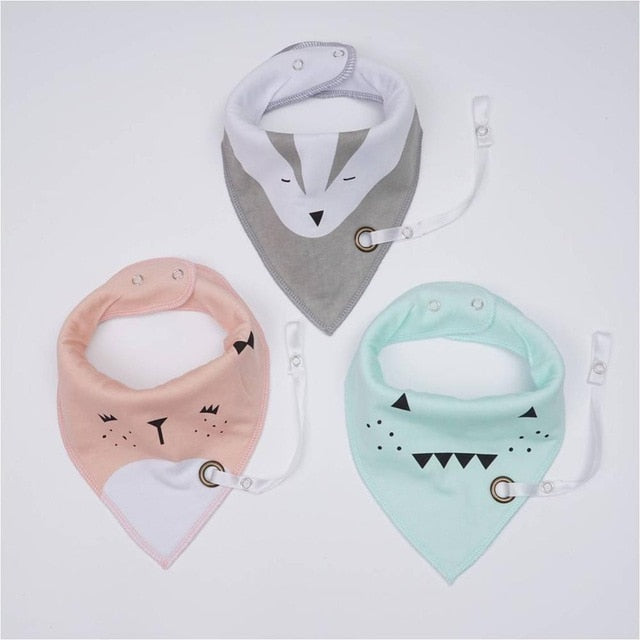 Scandanimals Bibs with paci clip - Set of 3