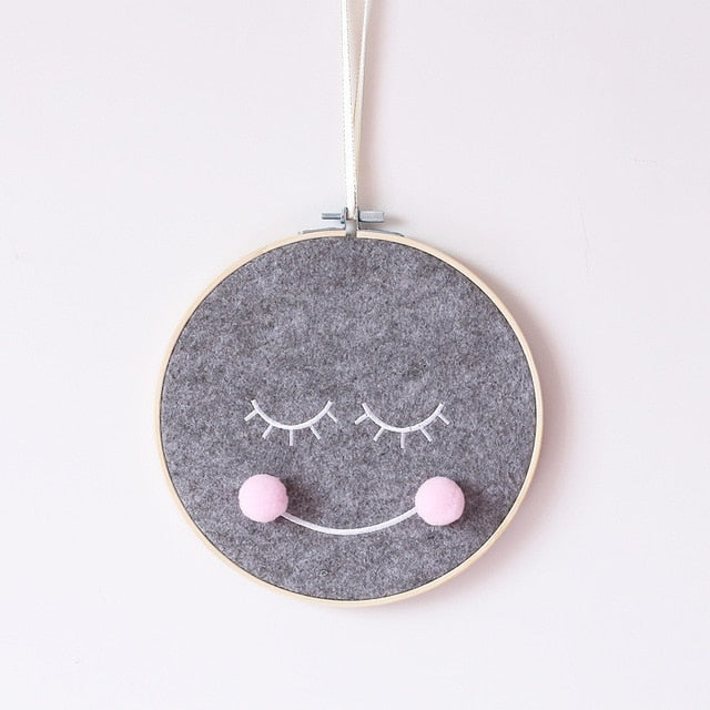 Smiley Embroidery Hoop Wall Decor (3 colors)