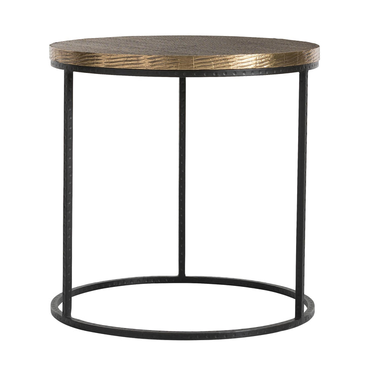 A great model of the juxtaposition of the industrial iron base, with the elegant and decorative top made of solid wood that has been scored and then clad in antique brass sheet. The brass surface will patina over time.   H: 24in Dia: 24in