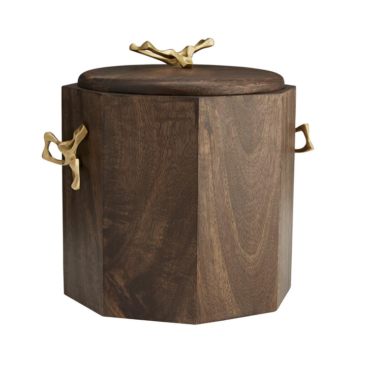 H: 10.5in W: 11in D: 9.5in  A quintessential at-home bar tool, our Wakefield Bucket allows you to keep up with those cocktail requests without sacrificing style. Featuring a multi-faceted façade, this container is constructed of wood with a rich walnut finish, and it is accented with sculptural yet functional antique brass handles. A stainless steel insert makes it easy to clean and provides extra insulation. Watertight and food safe. Finish may vary.