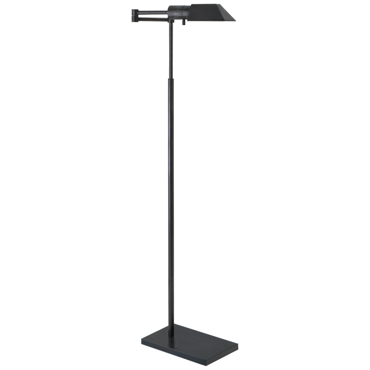 "Height: 43"" - 57""  Extension: 20""  Base: 6"" x 9"" Rectangle  Socket: E26 Dimmer  Wattage: 40 J"