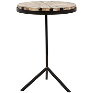 Katana Side Table, Metal and Petrified Wood