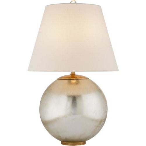 Visual Comfort Morton Table Lamp in Burnished Silver Leaf with Linen Shade/ Duvall Atelier