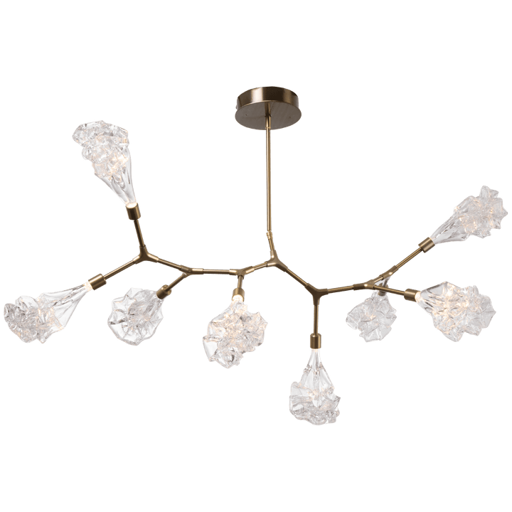 "OAH  26"" - 83"", adjustable WIDTH  49.3"" DEPTH 32.2"" WEIGHT  50 lbs UL LISTING  UL Listed Dry ELECTRICAL TYPE LED WATTAGE 21 LUMENS 1440 COLOR TEMP 2700 A 'branching bubble' chandelier unlike any other – the new Blossom Modern Branch linear suspension replaces the uninspired bulb with one-of-a-kind handblown glass shades reminiscent of flowering buds."