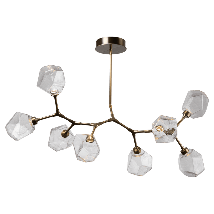"OAH -  26""-83"", adjustable  WIDTH - 46.2""  DEPTH - 29.0""  ELECTRICAL QUANTITY - 8  ELECTRICAL TYPE - LED  WATTAGE - 21  LUMENS -1440  COLOR TEMP - 2700 A 'branching bubble' chandelier unlike any other – the new Gem Modern Branch linear suspension replaces the uninspired bulb with one-of-a-kind handblown glass 'gems'."