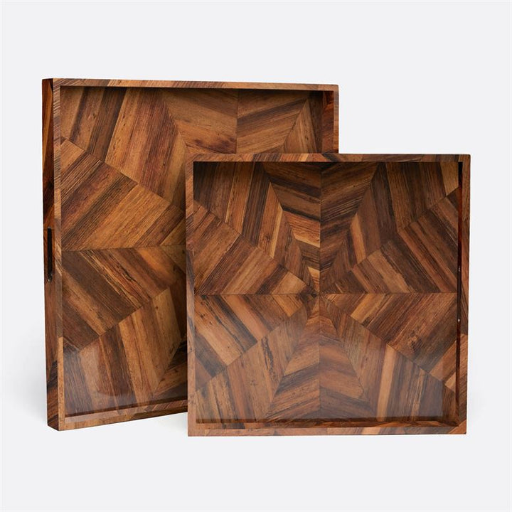 The Jada's dazzling design comes from hand laid pieces of sustainable banana bark-a nod to the '70s without being retro.  Dimensions: 24''L x 18''W x 2''H; 30''L x 24''W x 2''H