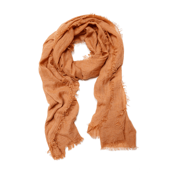 Lightweight Frayed Scarf-Burnt Orange