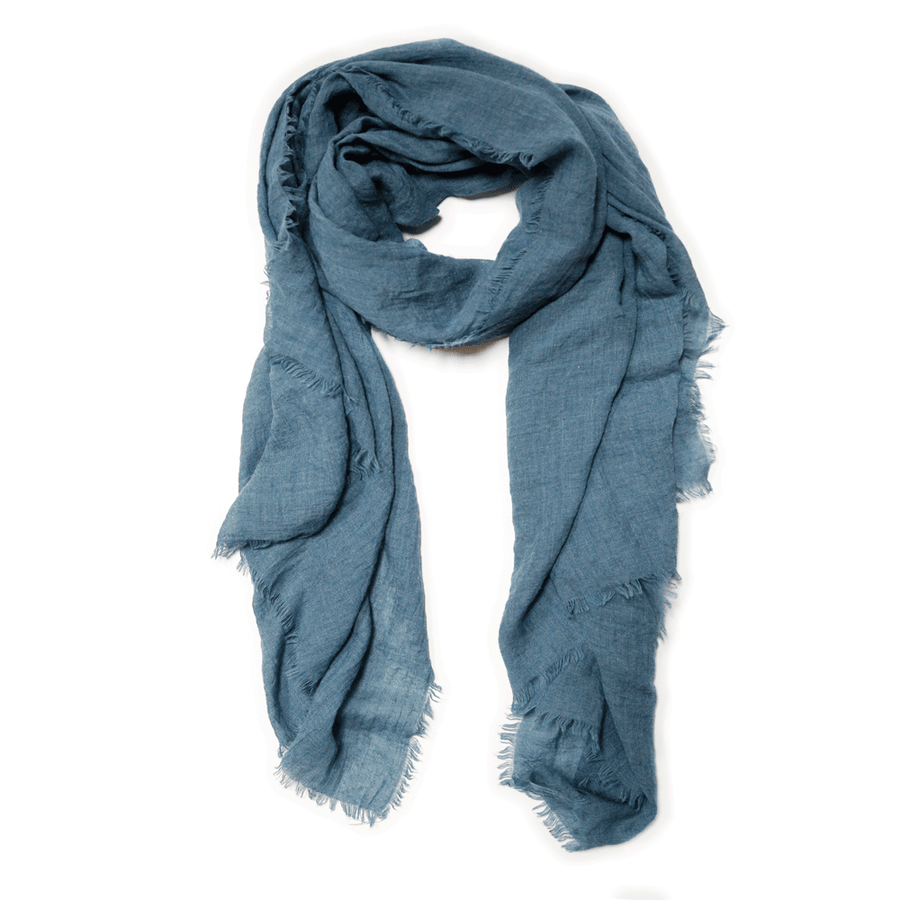 Lightweight Frayed Scarf - Teal