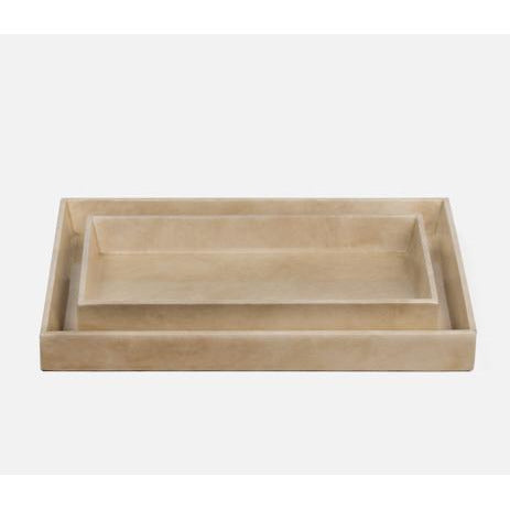 "Faux vellum bath collection with shiny lacquer  FINISH: Ivory Gloss Vellum Leather  SIZE: 13"" x 10"" x 1.5"""