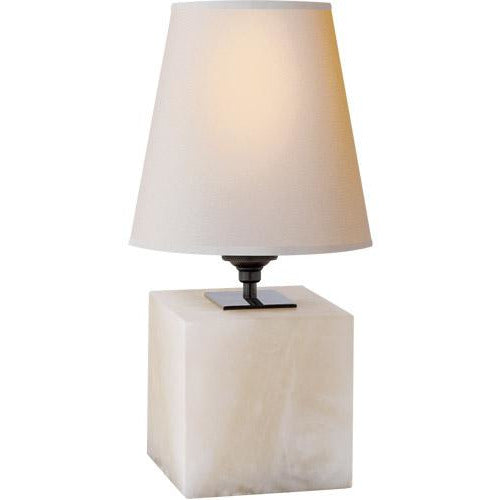Visual Comfort Terri Cube Accent Lamp in Alabaster with Natural Paper Shade/ Duvall Atelier