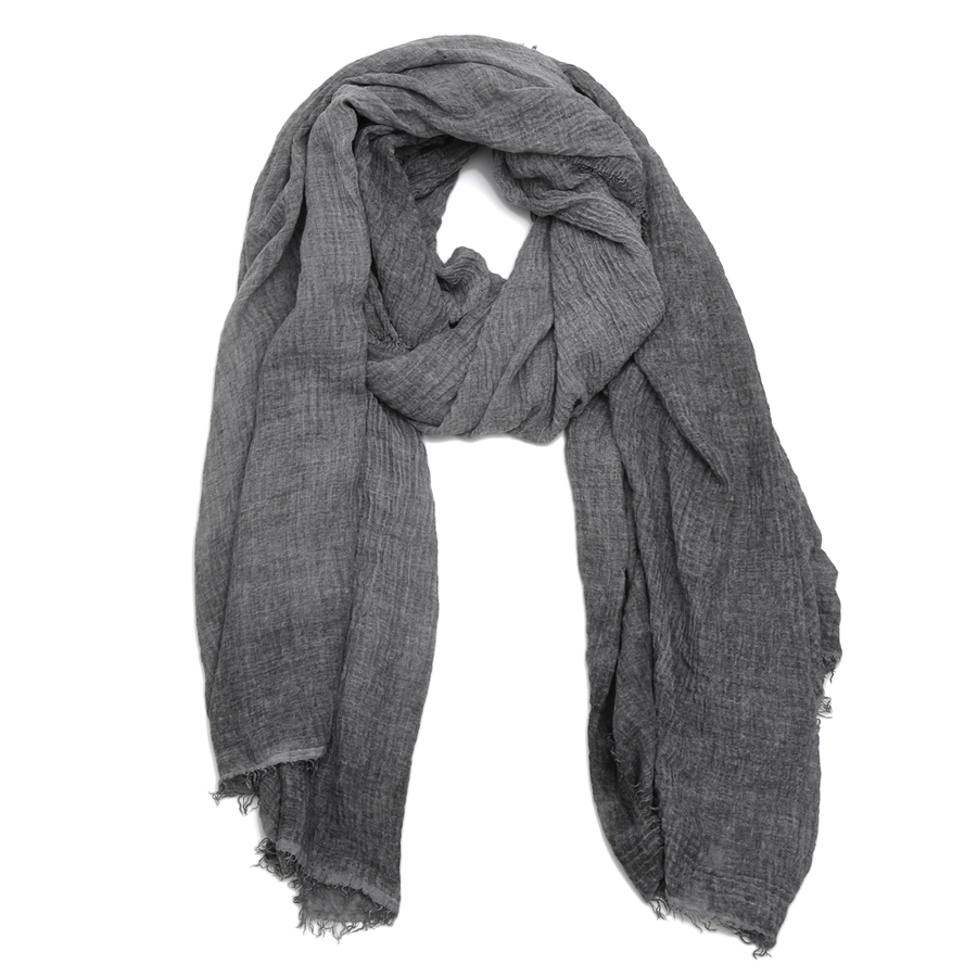 "Wear it uptown or downtown this scarf is soft and textured with raw edges.  DETAILS Poly/Viscose Blend  87"" x 39"""