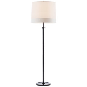 "Designer: Barbara Barry   Height: 62.5"" - 80""  Width: 19""  Base: 12"" Round  Socket: E26 Dimmer  Wattage: 150 A"