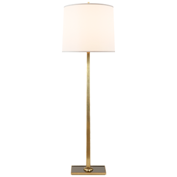 Petal Floor Lamp in Soft Brass with Bronze Mirror Base and Silk Shade