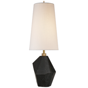 Halcyon Accent Lamp in Black Cremo Marble with Linen Shade