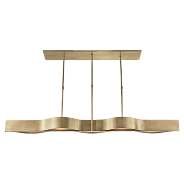 Visual Comfort Avant Large Linear Pendant - Duvall Atelier Finish: Antique-Burnished Brass with Frosted Glass/ Duvall Atelier