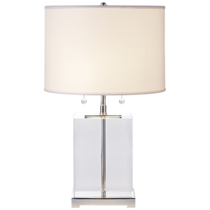 Visual Comfort Block Table Lamp in Crystal and Polished Silver with Cotton Shade/ Duvall Atelier