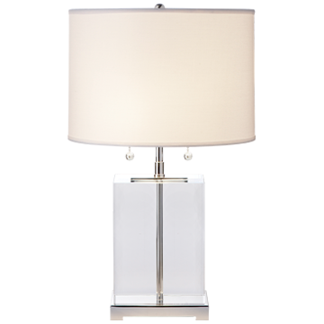 "Designer Thomas O'Brien   Height: 18"" - 19.5""  Width: 11.5""  Base: 4"" x 6"" Rectangle  Socket: 2 - E26 Pull Chain  Wattage: 2 - 40 B"