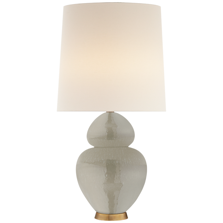 "Visual Comfort Michelena Table Lamp in Shellish Grey with Linen Shade  Height: 33.75""  Width: 17""  Base: 5.25"" Round  Socket: 2 - E26 Keyless w/ Dimmer  Wattage: 2 - 60 A/ Duvall Atelier"