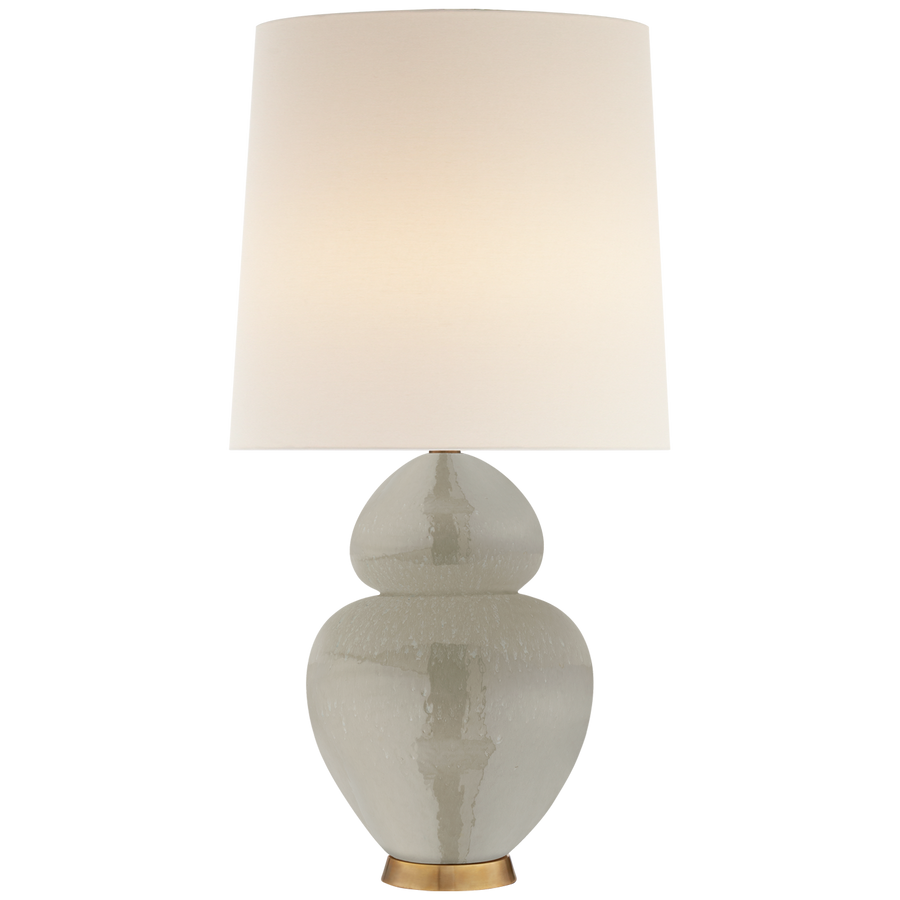 "Michelena Table Lamp in Shellish Grey with Linen Shade  Height: 33.75""  Width: 17""  Base: 5.25"" Round  Socket: 2 - E26 Keyless w/ Dimmer  Wattage: 2 - 60 A"