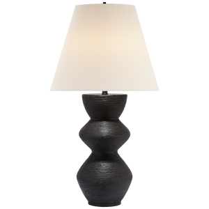 Visual Comfort Utopia Table Lamp in Aged Iron with Linen Shade/ Duvall Atelier