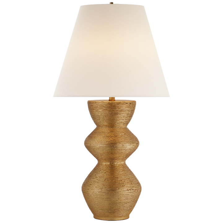 Visual Comfort Utopia Table Lamp in Gild with Linen Shade/ Duvall Atelier