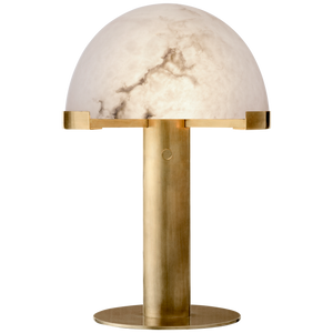 Visual Comfort Melange Desk Lamp in Antique-Burnished Brass with Alabaster Shade/ Duvall Atelier