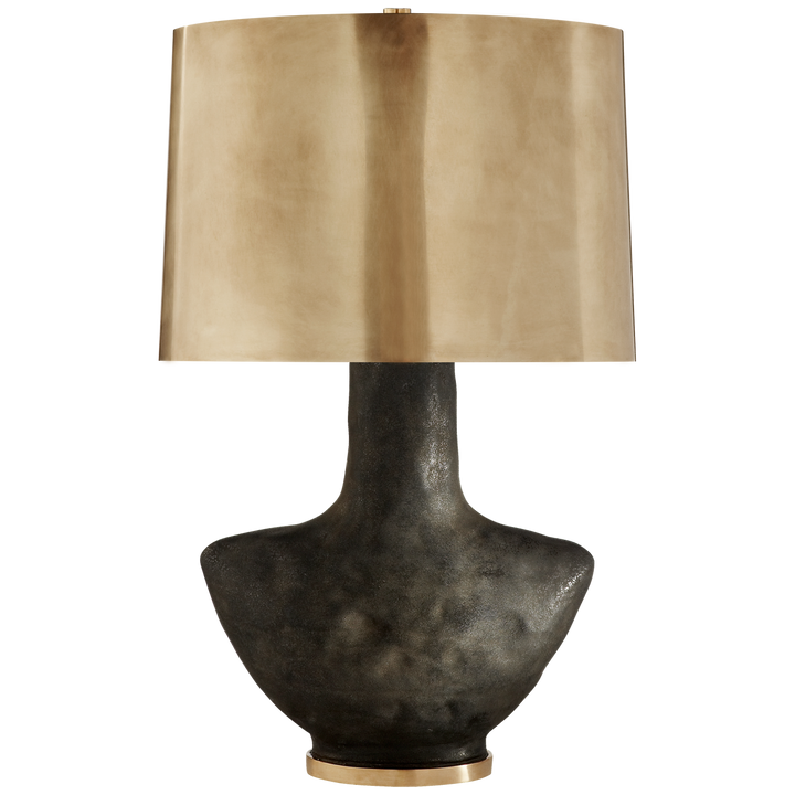 Visual Comfort Armato Small Table Lamp in Stained Black Metallic Ceramic with Oval Antique-Burnished Brass Shade/ Duvall Atelier